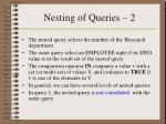 nesting of queries 2