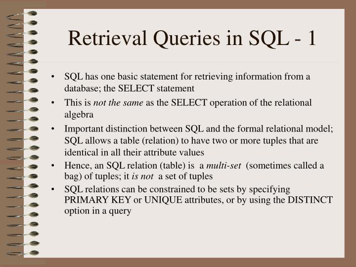 Retrieval Queries in SQL - 1