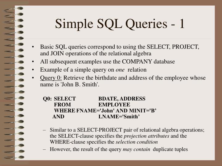 Simple SQL Queries - 1
