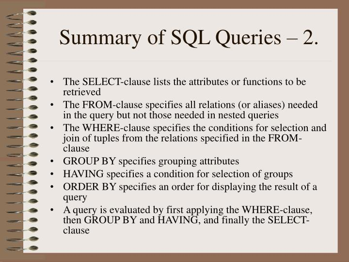 Summary of SQL Queries – 2.