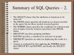 summary of sql queries 2