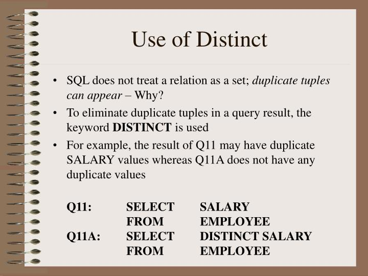 Use of Distinct