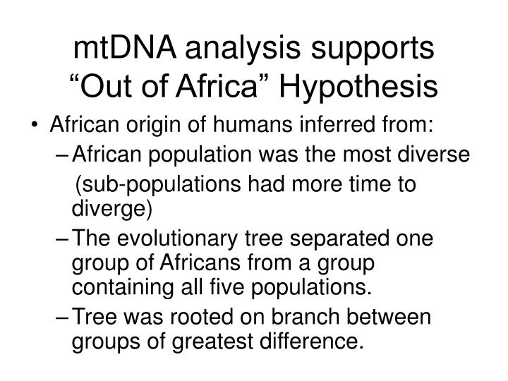 mtDNA analysis supports