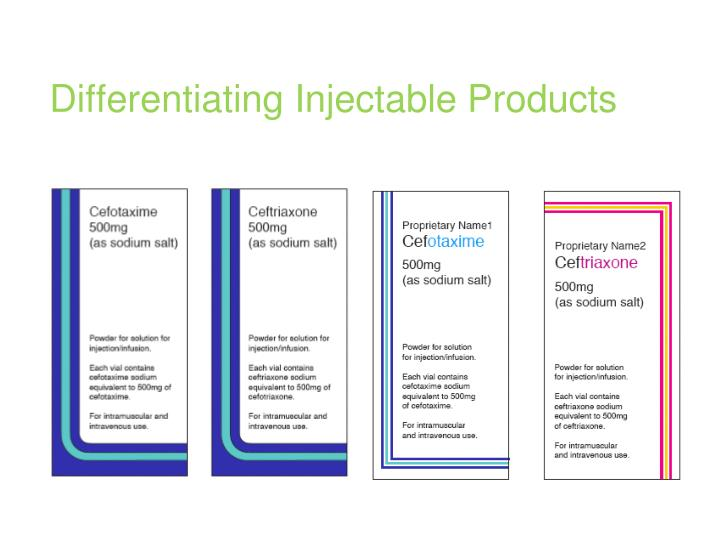 Differentiating Injectable Products