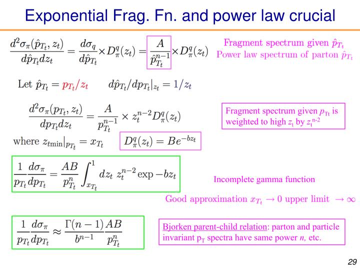 Exponential Frag. Fn. and power law crucial