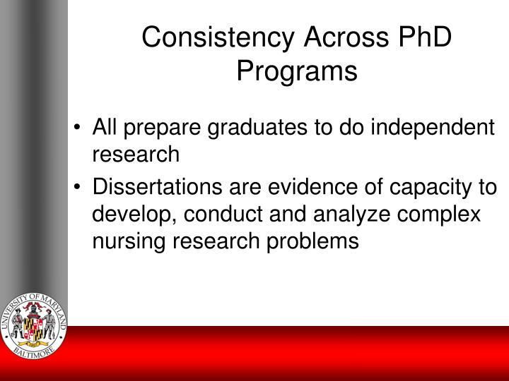 Consistency Across PhD