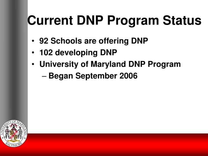 Current DNP Program Status