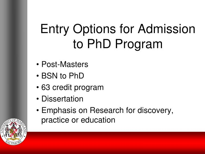 Entry Options for Admission