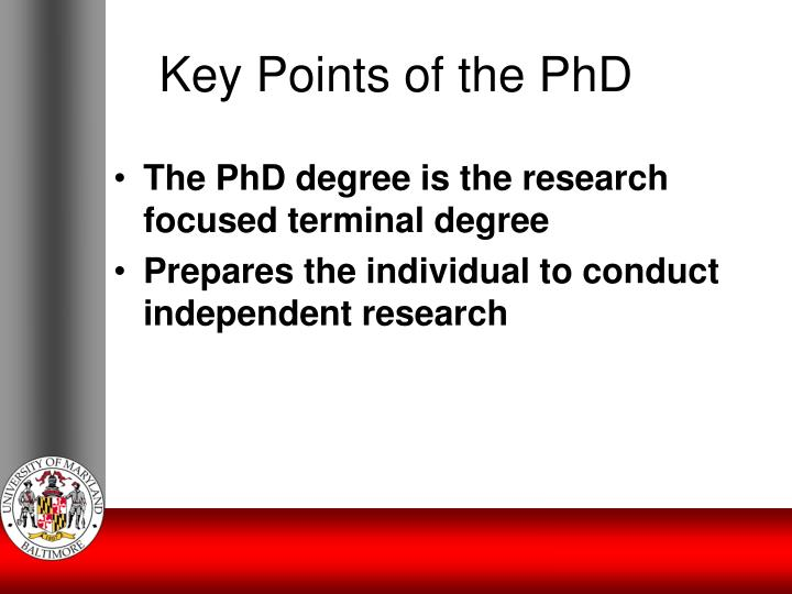Key Points of the PhD
