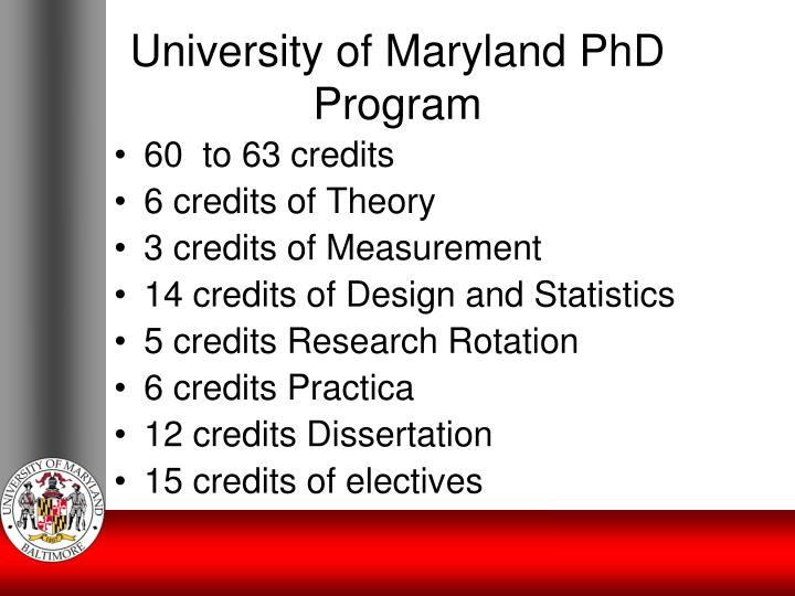 University of Maryland PhD Program
