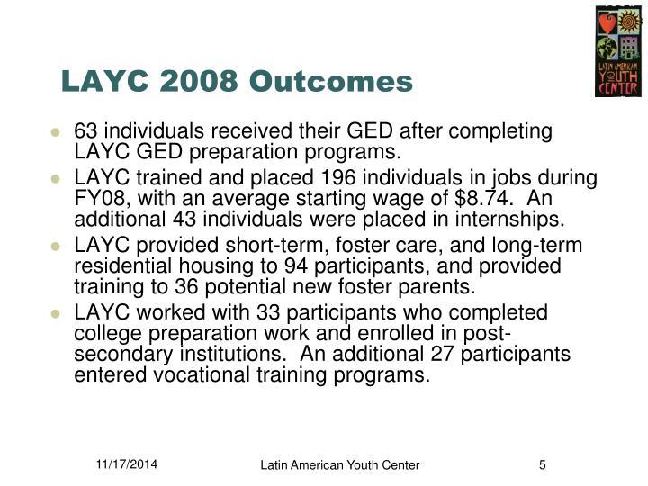 LAYC 2008 Outcomes