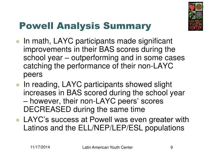 Powell Analysis Summary