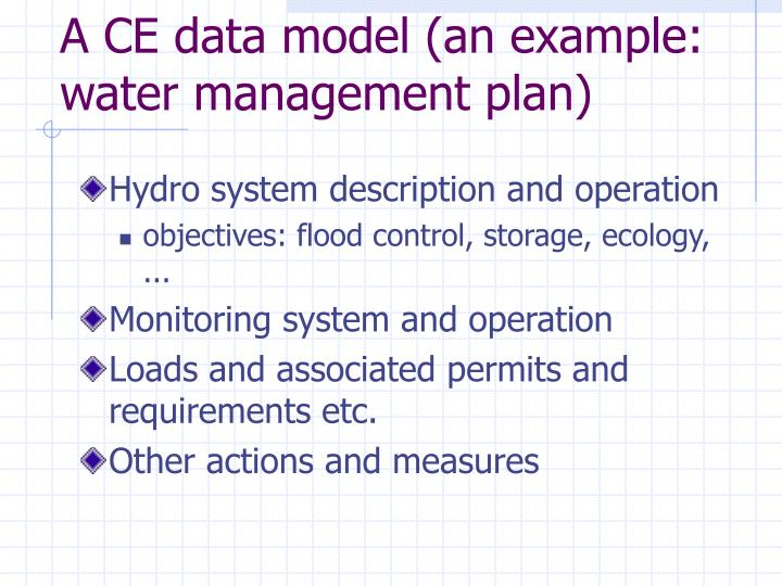 A CE data model (an example: water management plan)