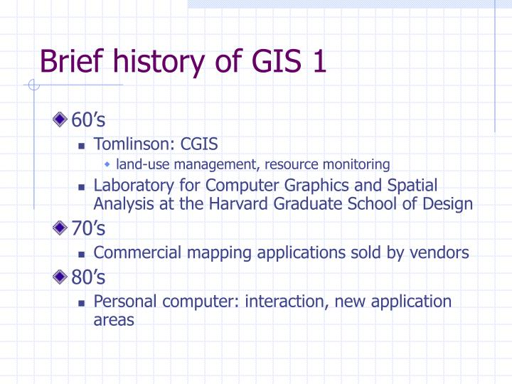 Brief history of GIS 1