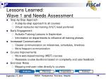 lessons learned wave 1 and needs assessment