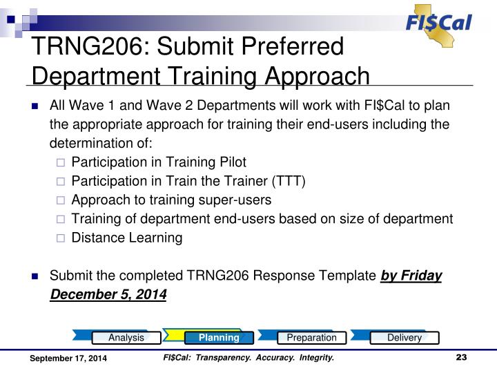 TRNG206: Submit Preferred Department Training Approach