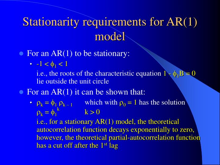 Stationarity requirements for AR(1) model