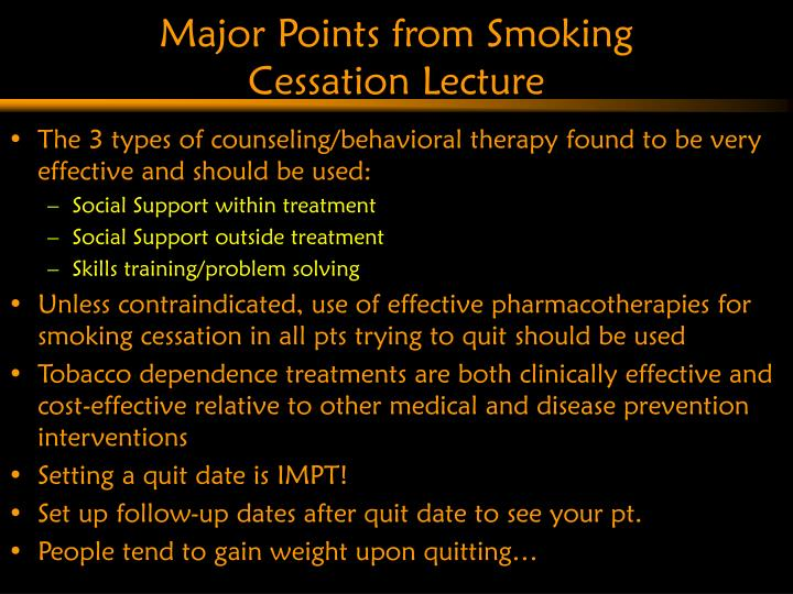 Major Points from Smoking