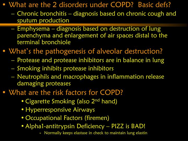What are the 2 disorders under COPD?  Basic defs?