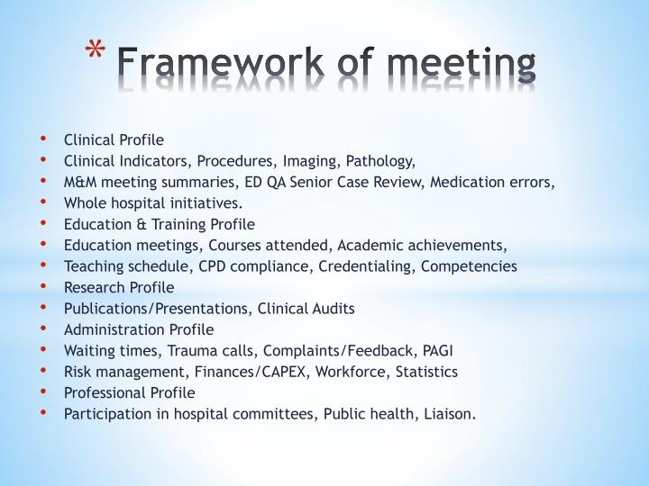 Framework of meeting