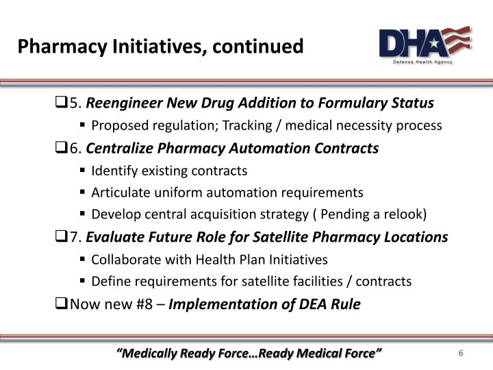 Pharmacy Initiatives, continued