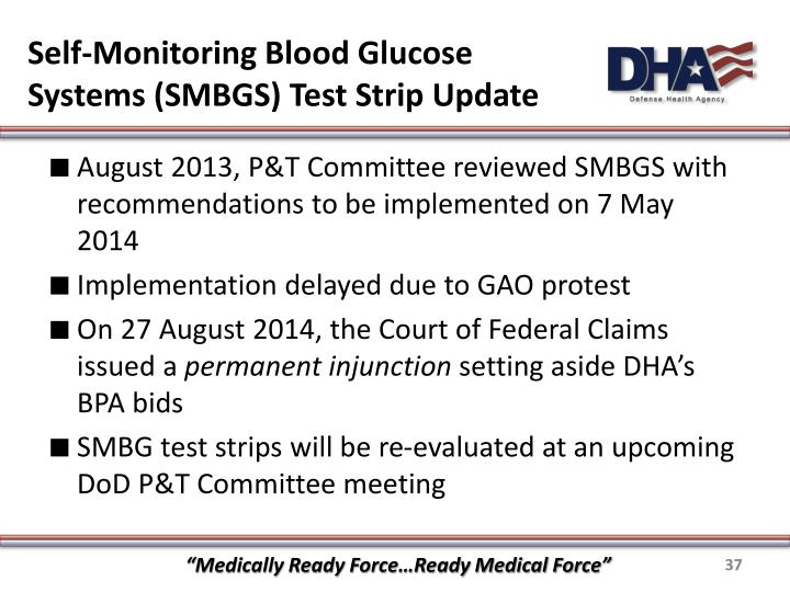 Self-Monitoring Blood Glucose Systems (SMBGS) Test Strip Update