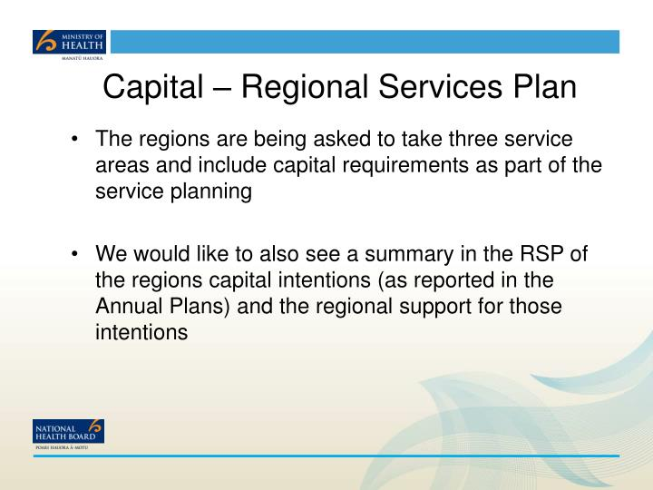 Capital – Regional Services Plan