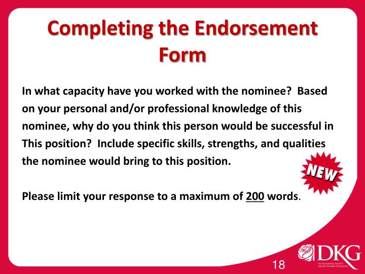 Completing the Endorsement Form