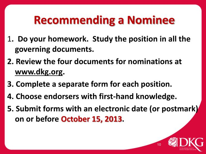 Recommending a Nominee