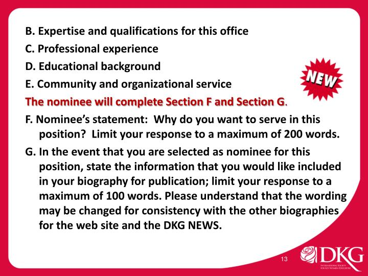 B. Expertise and qualifications for this office