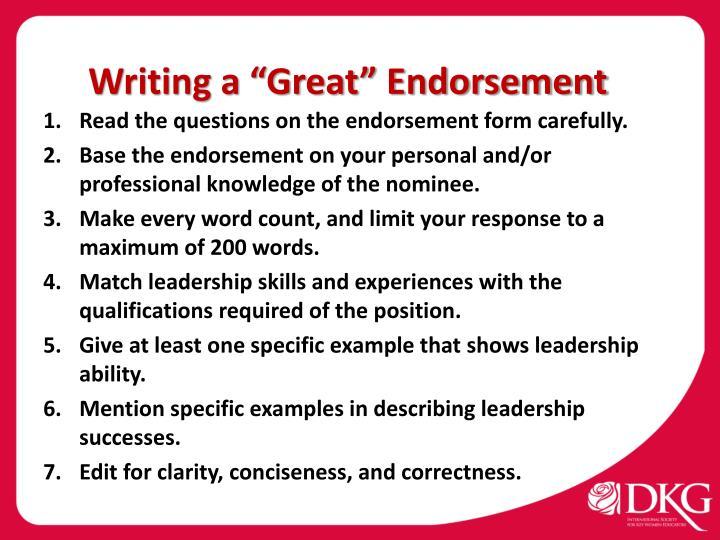 "Writing a ""Great"" Endorsement"