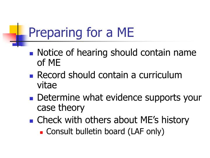 Preparing for a ME