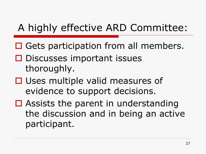 A highly effective ARD Committee: