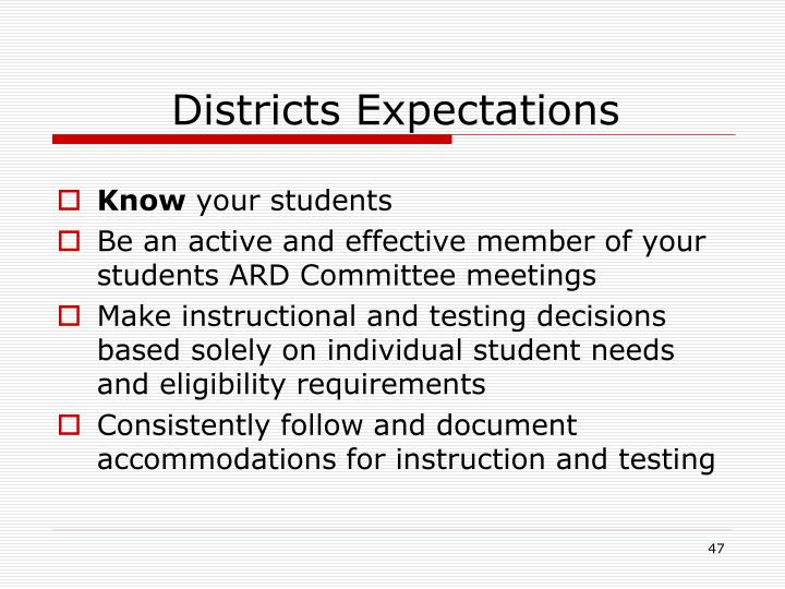 Districts Expectations