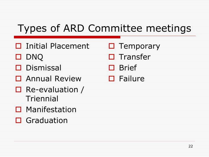 Types of ARD Committee meetings