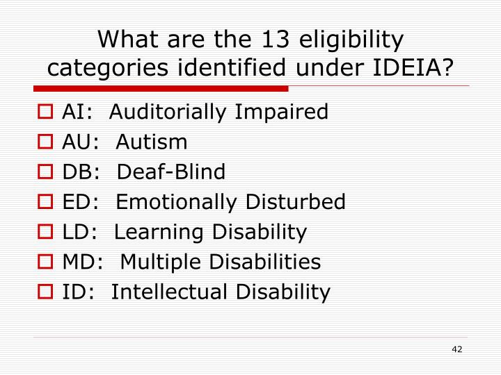 What are the 13 eligibility categories identified under IDEIA?