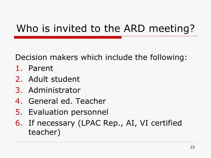 Who is invited to the ARD meeting?