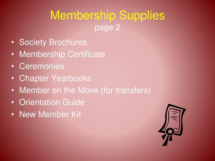 Membership Supplies