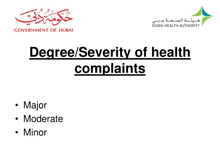Degree/Severity of health complaints