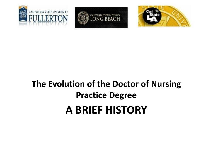 The Evolution of the Doctor of Nursing Practice Degree