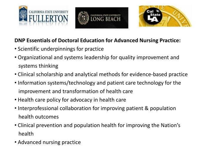 DNP Essentials of Doctoral Education for Advanced Nursing Practice: