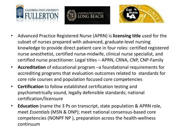 Advanced Practice Registered Nurse (APRN) is