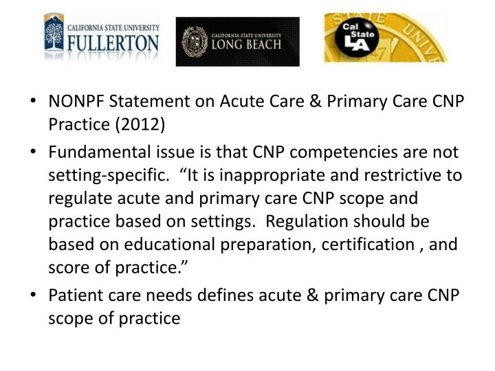 NONPF Statement on Acute Care & Primary Care CNP Practice (2012)