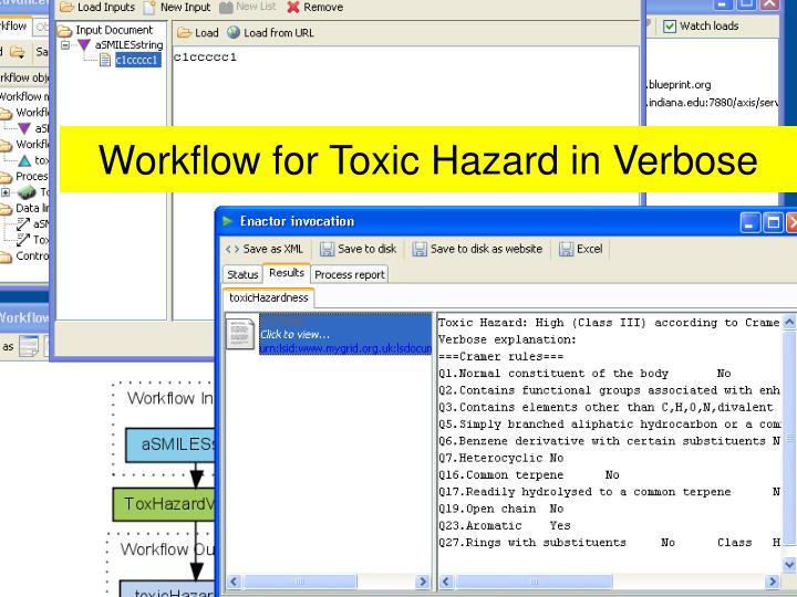 Workflow for Toxic Hazard in Verbose