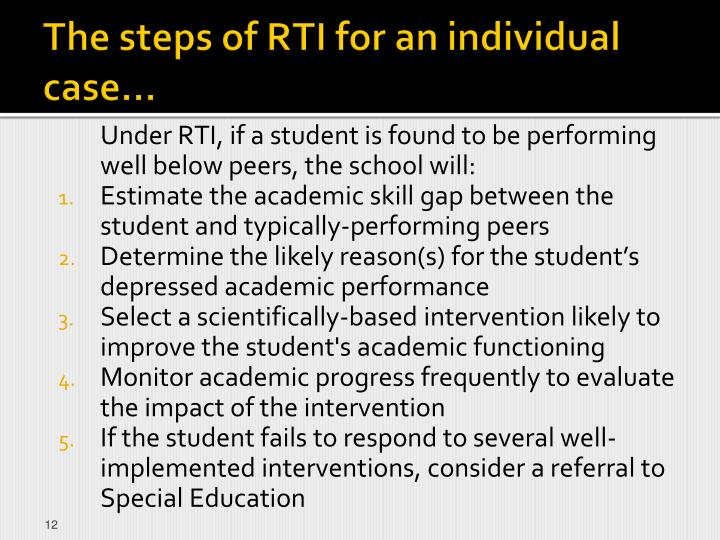 The steps of RTI for an individual case…