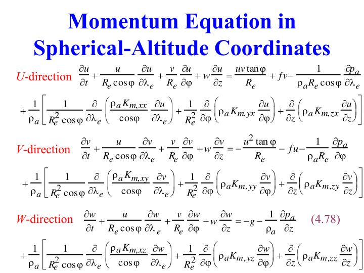 Momentum Equation in Spherical-Altitude Coordinates