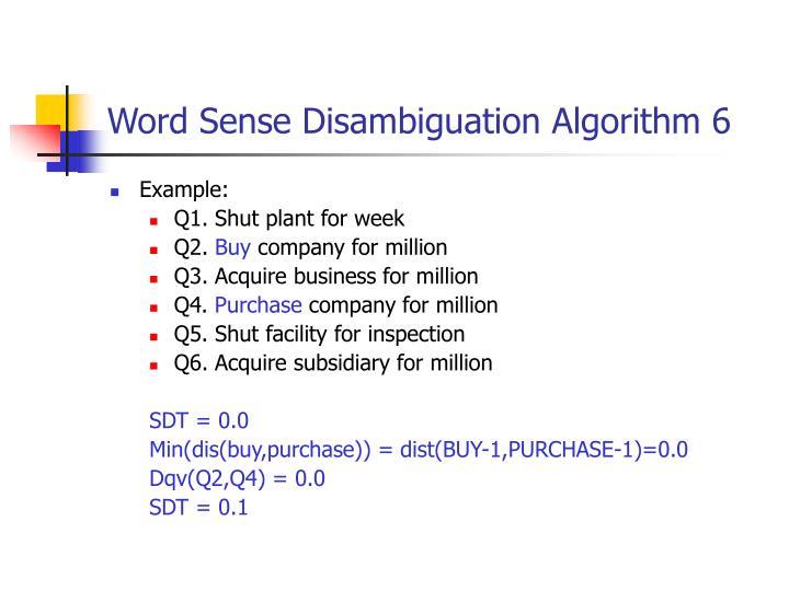 Word Sense Disambiguation Algorithm 6