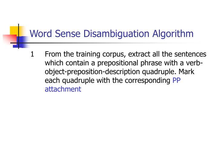 Word Sense Disambiguation Algorithm