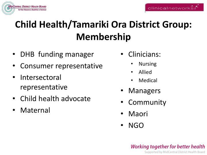 Child Health/Tamariki Ora District Group: