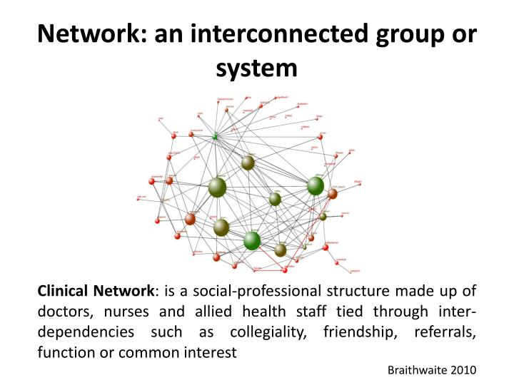 Network: an interconnected group or system
